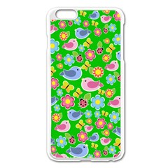 Spring Pattern   Green Apple Iphone 6 Plus/6s Plus Enamel White Case by Valentinaart