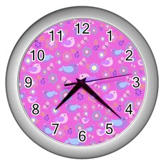 Spring Pattern   Pink Wall Clocks (silver)  by Valentinaart