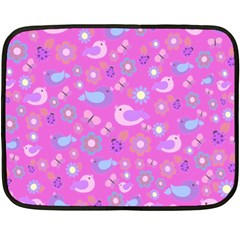 Spring Pattern   Pink Fleece Blanket (mini) by Valentinaart
