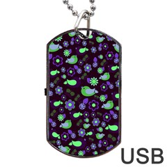 Spring Night Dog Tag Usb Flash (one Side) by Valentinaart