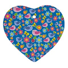 Spring Pattern   Blue Ornament (heart) by Valentinaart