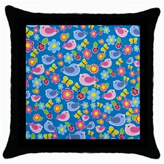 Spring Pattern   Blue Throw Pillow Case (black) by Valentinaart