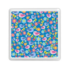 Spring Pattern   Blue Memory Card Reader (square)  by Valentinaart