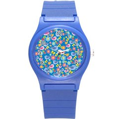 Spring Pattern   Blue Round Plastic Sport Watch (s) by Valentinaart