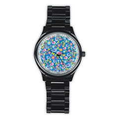 Spring Pattern   Blue Stainless Steel Round Watch by Valentinaart