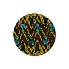 Painted Waves                                                         			rubber Round Coaster (4 Pack) by LalyLauraFLM