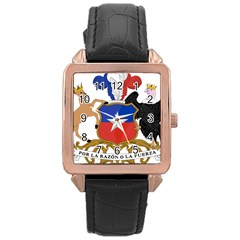 Coat Of Arms Of Chile Rose Gold Leather Watch  by abbeyz71