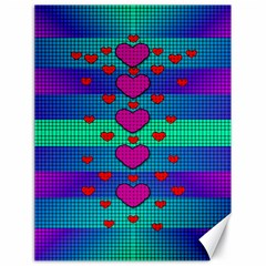 Hearts Weave Canvas 18  X 24   by pepitasart