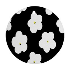 April Fun Pop Floral Flower Black White Yellow Rose Ornament (round)