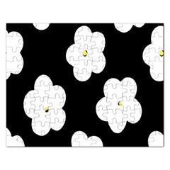 April Fun Pop Floral Flower Black White Yellow Rose Rectangular Jigsaw Puzzl by Jojostore
