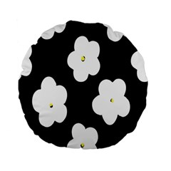 April Fun Pop Floral Flower Black White Yellow Rose Standard 15  Premium Flano Round Cushions
