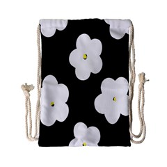 April Fun Pop Floral Flower Black White Yellow Rose Drawstring Bag (small) by Jojostore