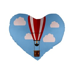 Air Ballon Blue Sky Cloud Standard 16  Premium Flano Heart Shape Cushions by Jojostore