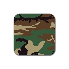Army Shirt Green Brown Grey Black Rubber Coaster (square)  by Jojostore