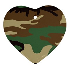 Army Shirt Green Brown Grey Black Heart Ornament (two Sides)