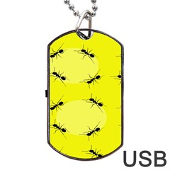 Ant Yellow Circle Dog Tag Usb Flash (two Sides)