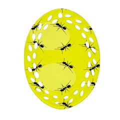 Ant Yellow Circle Ornament (oval Filigree) by Jojostore