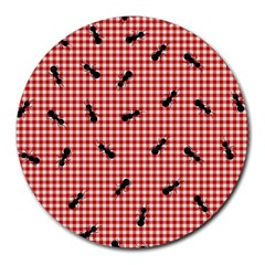 Ant Red Gingham Woven Plaid Tablecloth Round Mousepads by Jojostore