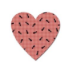 Ant Red Gingham Woven Plaid Tablecloth Heart Magnet by Jojostore