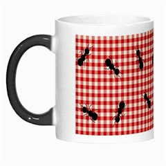 Ant Red Gingham Woven Plaid Tablecloth Morph Mugs