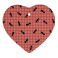 Ant Red Gingham Woven Plaid Tablecloth Heart Ornament (two Sides)