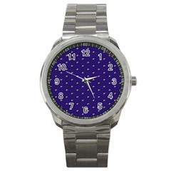 Blue Yellow Sign Sport Metal Watch by Jojostore