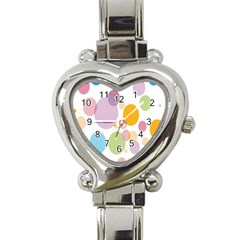 Bubble Water Yellow Blue Green Orange Pink Circle Heart Italian Charm Watch