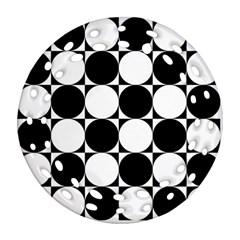 Circles Black White Round Filigree Ornament (two Sides)