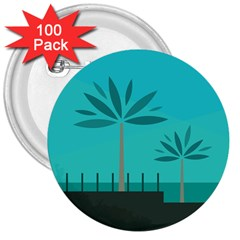 Coconut Palm Trees Sea 3  Buttons (100 Pack)  by Jojostore