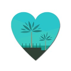 Coconut Palm Trees Sea Heart Magnet by Jojostore