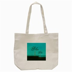 Coconut Palm Trees Sea Tote Bag (cream)
