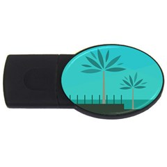 Coconut Palm Trees Sea Usb Flash Drive Oval (4 Gb)