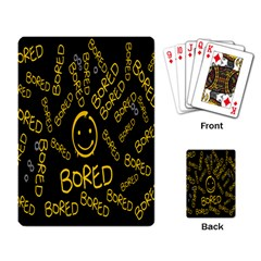 Bored Face Smile Sign Yellow Black Mask Playing Card by Jojostore