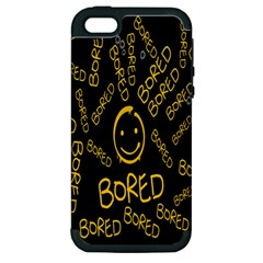 Bored Face Smile Sign Yellow Black Mask Apple Iphone 5 Hardshell Case (pc+silicone) by Jojostore