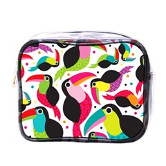 Colorful Toucan Retro Kids Pattern Bird Animals Rainbow Purple Flower Mini Toiletries Bags by Jojostore