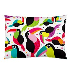 Colorful Toucan Retro Kids Pattern Bird Animals Rainbow Purple Flower Pillow Case (two Sides) by Jojostore