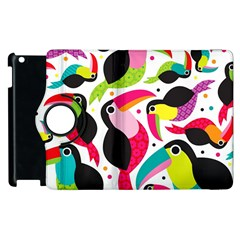 Colorful Toucan Retro Kids Pattern Bird Animals Rainbow Purple Flower Apple Ipad 3/4 Flip 360 Case by Jojostore