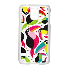 Colorful Toucan Retro Kids Pattern Bird Animals Rainbow Purple Flower Samsung Galaxy S5 Case (white) by Jojostore