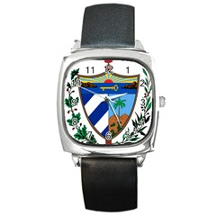 Coat Of Arms Of Cuba Square Metal Watch by abbeyz71