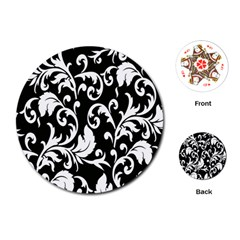 Clasic Floral Flower Black Playing Cards (round)  by Jojostore
