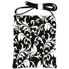 Clasic Floral Flower Black Shoulder Sling Bags by Jojostore