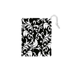 Clasic Floral Flower Black Drawstring Pouches (xs)