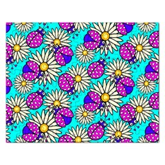 Bunga Matahari Serangga Flower Floral Animals Purple Yellow Blue Pink Rectangular Jigsaw Puzzl by Jojostore