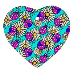 Bunga Matahari Serangga Flower Floral Animals Purple Yellow Blue Pink Heart Ornament (two Sides) by Jojostore