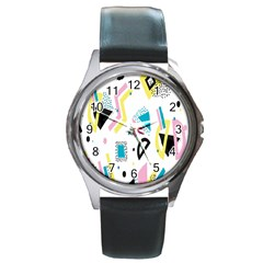 Design Elements Illustrator Elements Vasare Creative Scribble Blobs Yellow Pink Blue Round Metal Watch