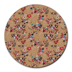 Deer Cerry Animals Flower Floral Leaf Fruit Brown Round Mousepads by Jojostore