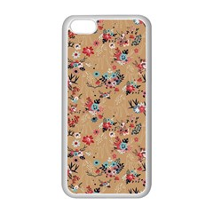 Deer Cerry Animals Flower Floral Leaf Fruit Brown Apple Iphone 5c Seamless Case (white) by Jojostore