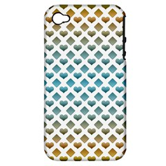 Diamond Heart Card Purple Valentine Love Blue Yellow Gold Apple Iphone 4/4s Hardshell Case (pc+silicone)