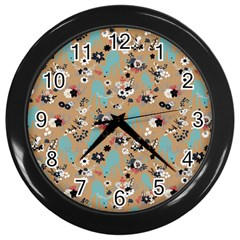Deer Cerry Animals Flower Floral Leaf Fruit Brown Black Blue Wall Clocks (black) by Jojostore