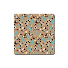 Deer Cerry Animals Flower Floral Leaf Fruit Brown Black Blue Square Magnet